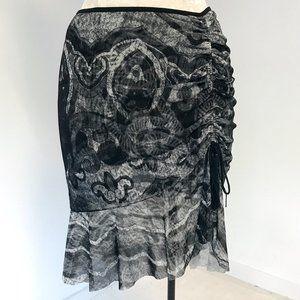 Vintage 90s Vivienne Tam S/M Mesh Print Skirt Grey